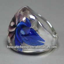 Whole Sale Promotion Colored Glaze Murano Glass Ring