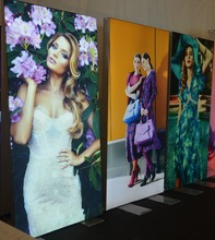 Textile light box front surface for shopping fabric sign poster display
