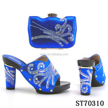ST70310 - 2017 italian ladies shoes and matching bag set with royal blue high heel for ladies set