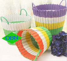Dirty laundry basket handwoven cheap colored plastic laundry basket