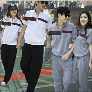 fashion 100% cotton short sleeve shirt and pants sport college style for couple