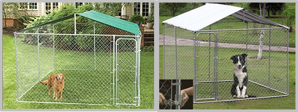 6'H Of Galvanized Large Outdoor Chain Link Dog Kennel / Pet Enclosure