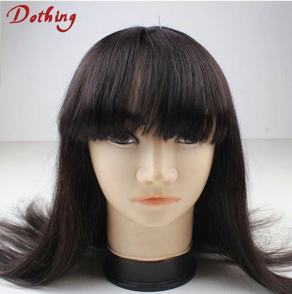 8A Garde Unprocessed Silky Straight Virgin Brazilian Woman Hair No Tangle No Shedding Full Lace Wig With Bangs