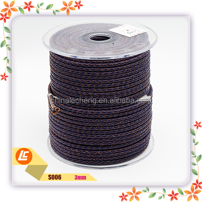 3mm Real woven leather cord in braided for charming bracelets