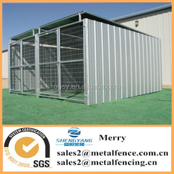 6'X12' shed row style metal steel tube dog kennel with roof shelter and 2 dog runs