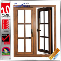 Wood color insulated aluminium frame casement window with internal blinds