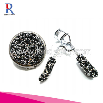 Nice Handheld Shining Diamond Hot Teen Favor Personalized Cosmetic Mirror With Crystal Eyelash Curler