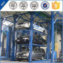 4 post 3 layer vertical elevated car parking lift system PJS353