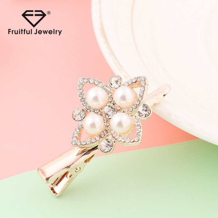 2017 wholesale Fashion wedding hair accessories bridal crystal pearl Duckbill clip hairpin