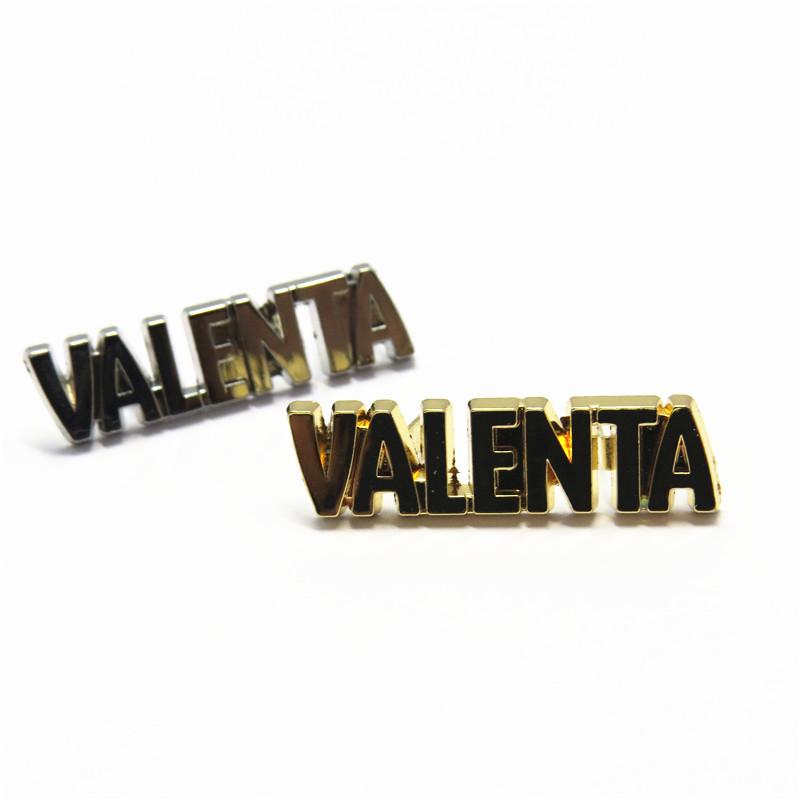 Placa feita sob encomenda do logotipo do metal do ouro para bolsas