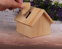 Eco-friendly Wooden House Shape Money Saving Box