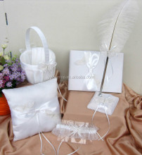 White Butterfly guest book /pen holder/ring pillow/flower basket set wedding decoration