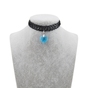 Black elastic plastic tattoo choker with colorful crystal pendant choker handmade Gothic Punk adjustable crystal tattoo choker