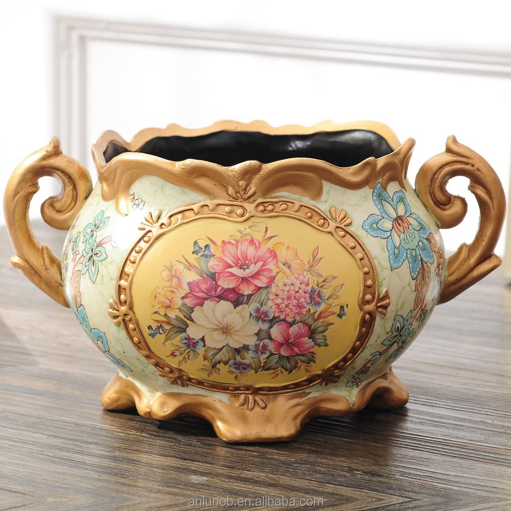 European Antique Painting Floral Designs Ceramic Flower Vases Wholesale Chaozhou Home Decor