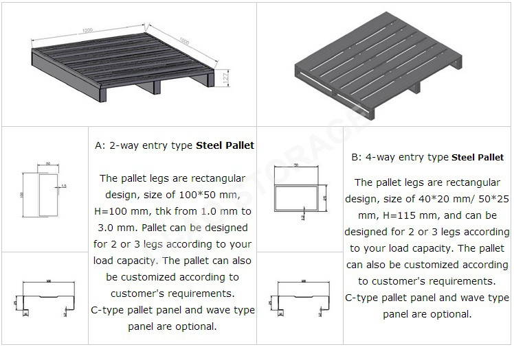 2017 Hot Sale Heavy Duty Steel Pallet For Cold Storage