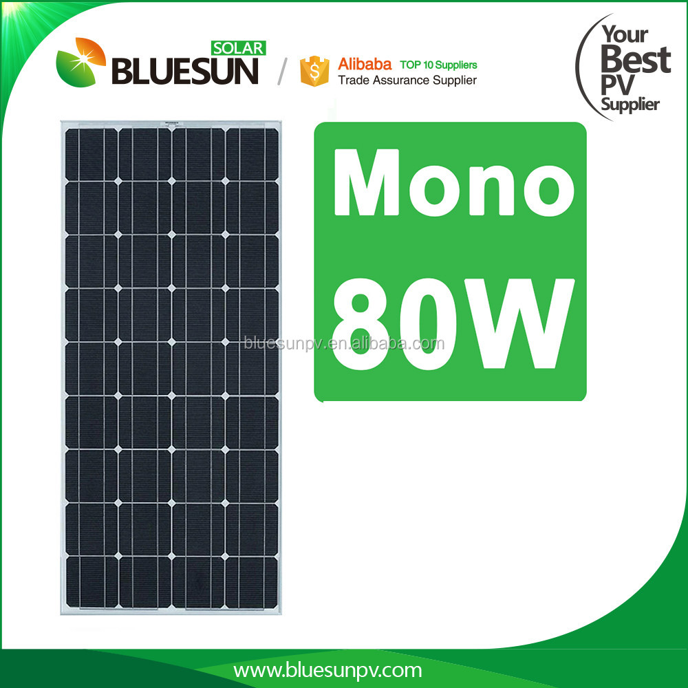 BlueSun High efficiency A Grade mono crystalline 80w 36 cells solar panel
