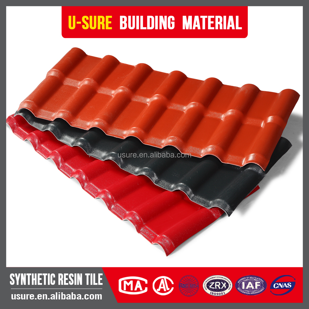 color lasting asa resin anti corrosive chinese plastic roof tiles