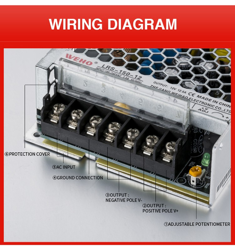 WEHO new design LRS-150-24 slim type 30mm full range ac to dc 150w 24v dc power supply