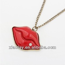 Wholesale Cheap Red Lip Pendant Necklace