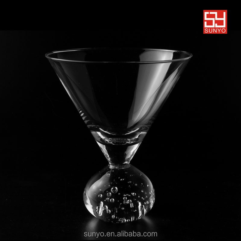 CE/EU certification Handmade Crystal Cocktail heavy stem bubble ball martini glass