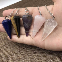 Newest Fashion Natural Quartz Crystal Healing Point Pendants Gemstone Point