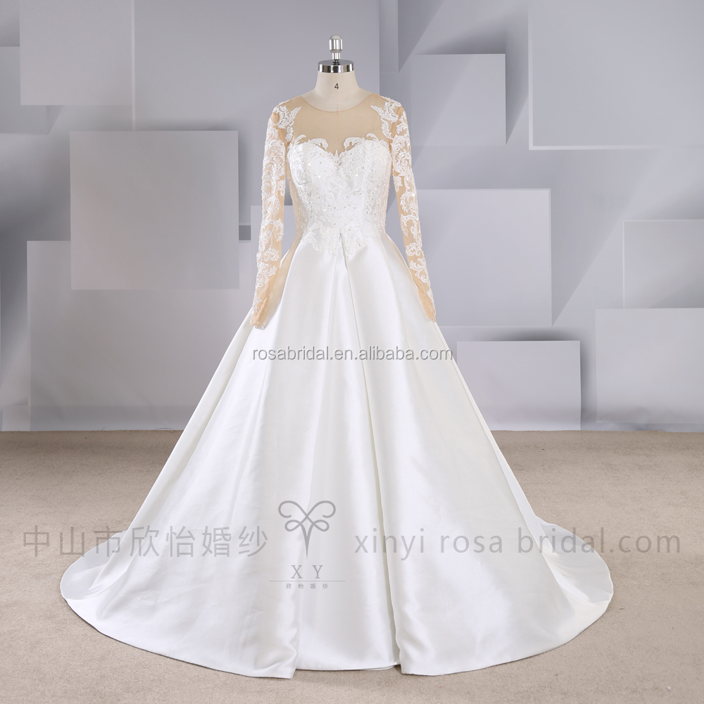 Factory Modest Crystal Long Sleeves Princess Bridal Gowns Wedding Dresses For Sale Online