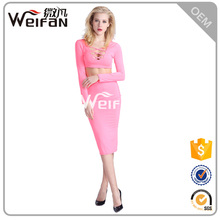 Two Pieces Vestido Pink Cocktail Dresses Long Sleeve Bodycon Ladies Without Dress Photos