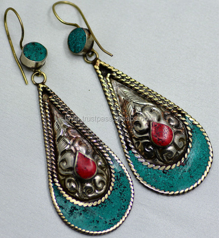 Vintage Ethnic TIBETAN Silver Turquoise Coral fashion Jewelry earrings