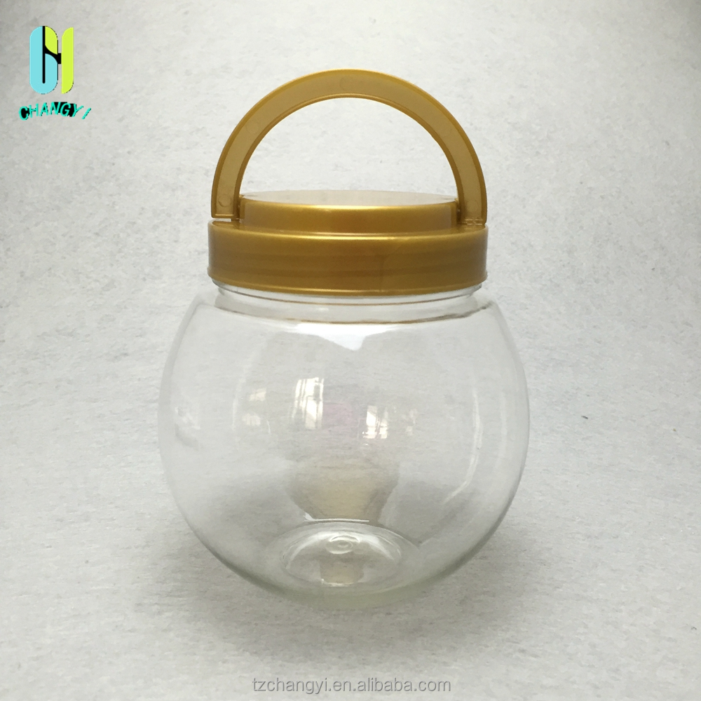 PET plastic round jar colored food container with screw lid