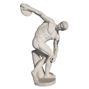 European style white stone carving naked figure of running man