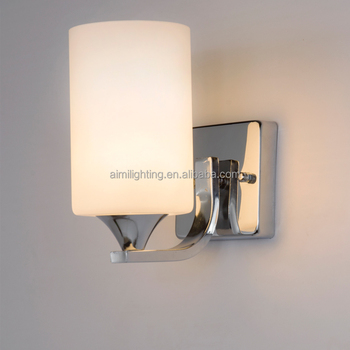 Hot sell modern wall lamps bathroom light fixture with etched opal glass for