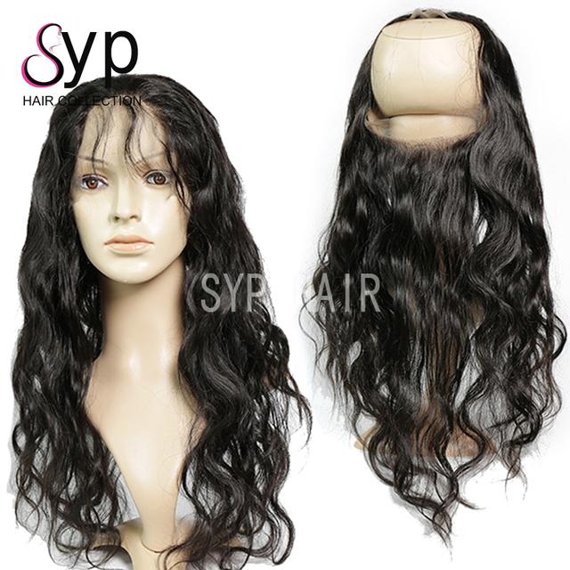 Raw Remy Peruvian Virgin Human Body Wave Hair Elastic Band 360 Lace Frontal Closure