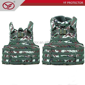 Level IIIA full body aramid desert camouflage bulletproof vest with molle system for sale