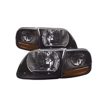 For Ford F-150 97-03/ Expedition 97-02 / Ford F-250 99 Black Housing Light Smoked lens 4pc Lightning Head Light 1L3Z 13008BB