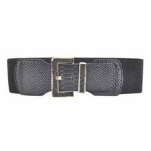 Snake skin lady elastic metal belt