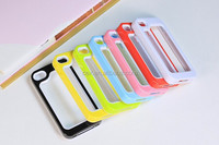 Wholesale - Two-Tone Bumper Frame TPU Gel Silicone Rubber Mobile Phone Case Back Cover for iPhone 5 5S 5G iPhone5