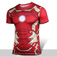 MOON BUNNY 2016 new Fashion Marvel Armor Iron Man 3 MK42 Superhero t shirt men costume jersey 3d Sport tshirt camisetas masculin