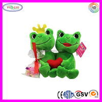 D834 Couple Green Smile Frog Animal Stuffed Plush Soft Frog Toy