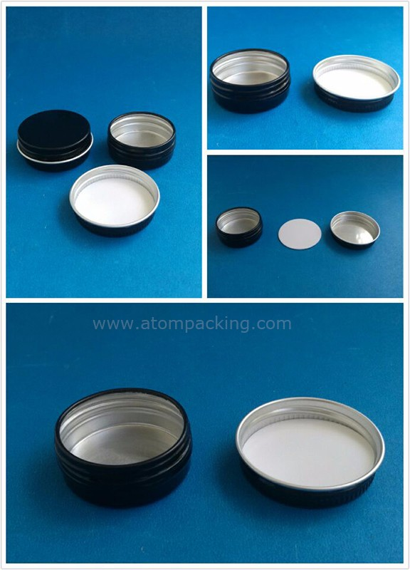 12ml black round aluminum jar containers with screw lids for lip balm