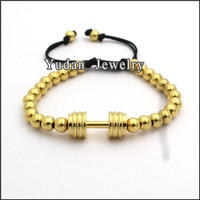 hot sale stainless steel dumbbell charm bead bracelet