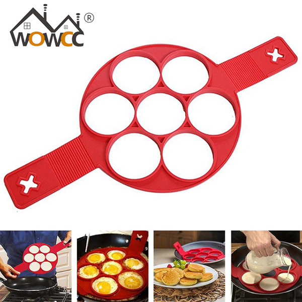 Non Stick silicone Pancakes Mold,Flip multiple molds,Egg Cake Ring Flippin' Fantastic