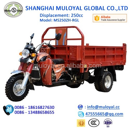 ISO Approval 250cc Motorized Big Wheel Tricycles with Drum Brake