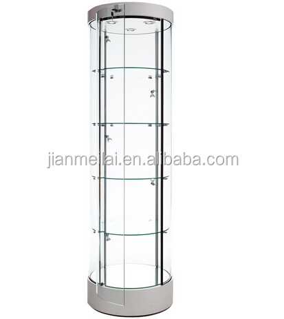 "Silver 22"" Round Acrylic Display Case With Track Lights,Locking ..."