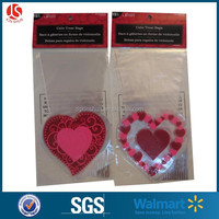 Heart Pattern Cello Bags Gravure Printing Plastic Shaped Treat Cello Bag For Valentine's Day