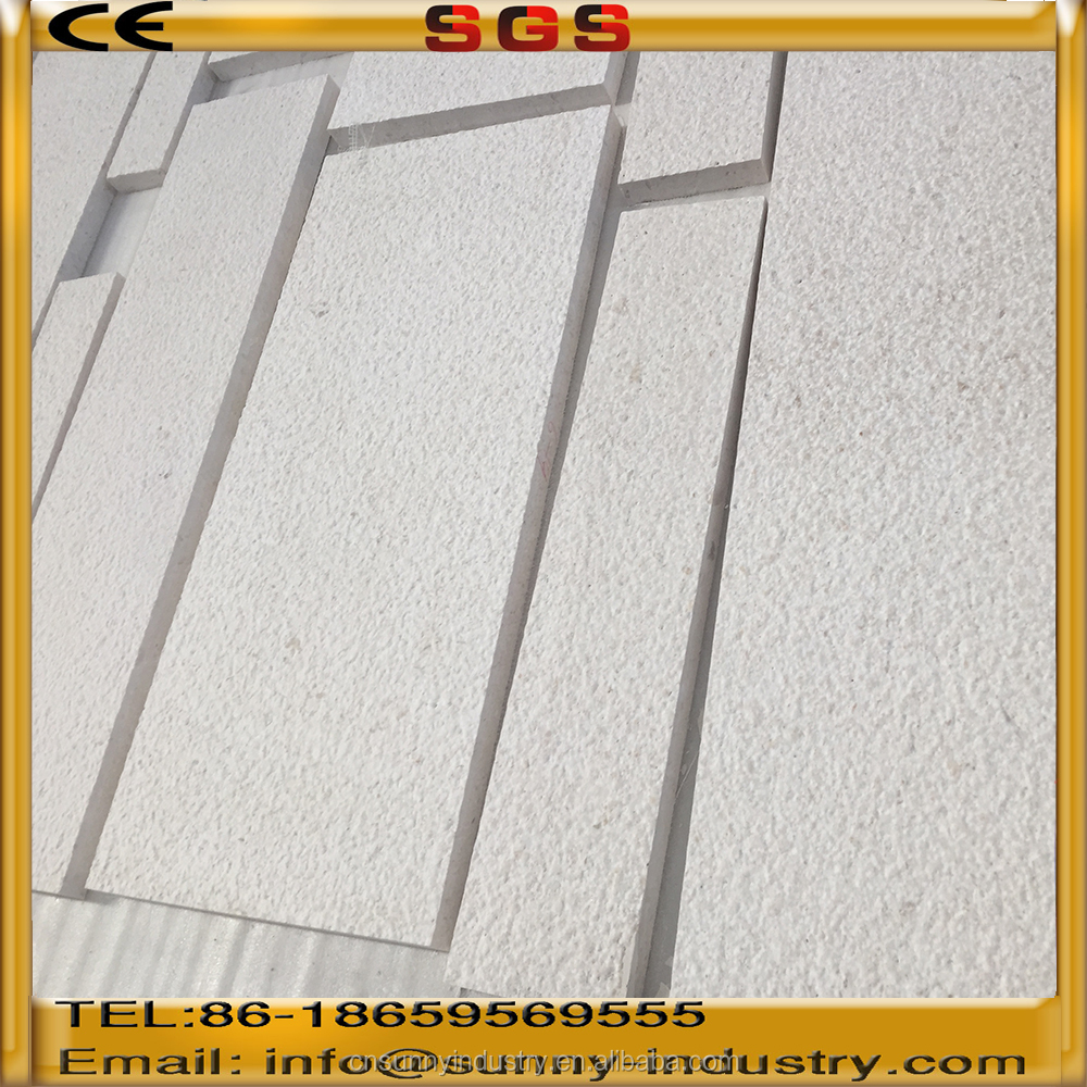 Top quality Bush hammered white marble for outdoor wall panel