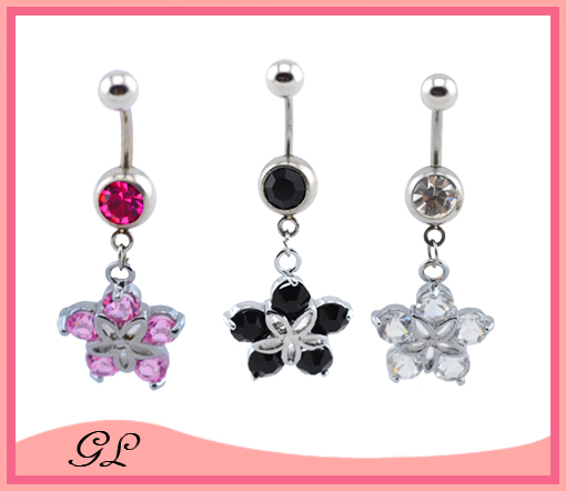 Beautiful flower with zircon body piercing jewelry banana navel rings