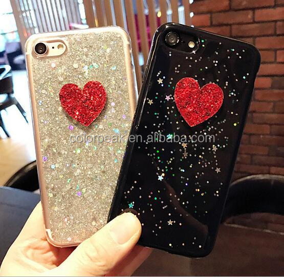 New Arrival Fashion Rubber Silicone tpu 3D Lover star Glitter Bling phone case cover for iPhone 7/7 Plus