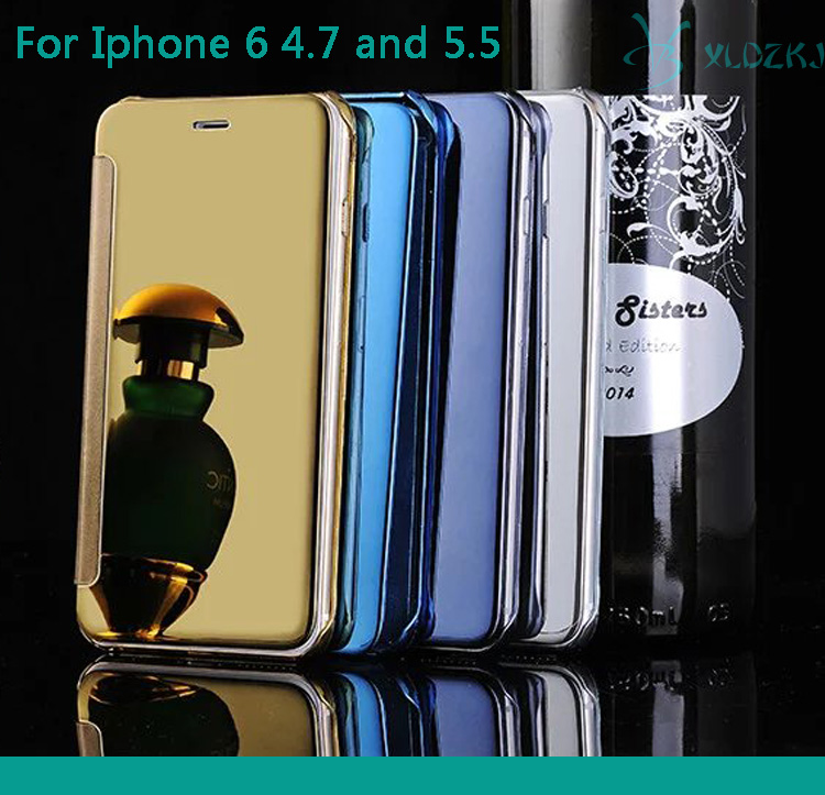 Flip Case For IPhone 6 4.7&5.5 Inch Deluxe Window Clean View Mirror Case For iPhone 6 6 Plus PU Flip Leather Wallet Phone Cover
