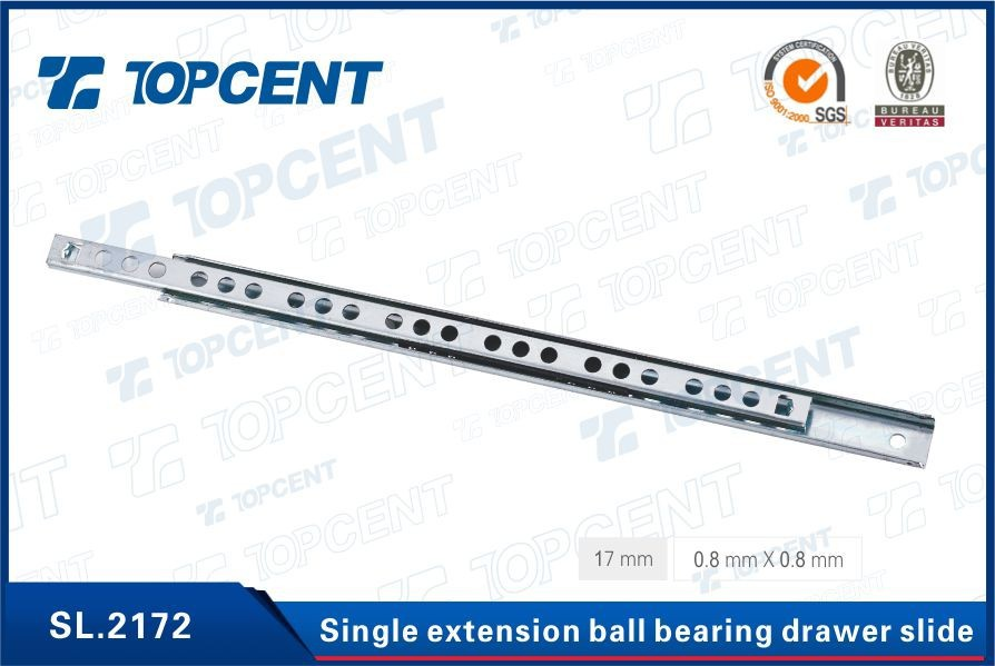 [SL.2172] Double Open 17MM 0.8mm thickness ball bearing slides for drawer