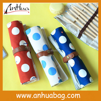 Cute Design dot Canvas roll up pencil case